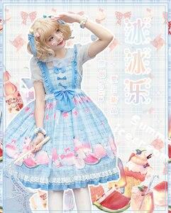Свежие милые вечерние платья принцессы в стиле Лолиты; Элегантное модное платье в стиле ретро с кружевным бантом и милым принтом в викториа...