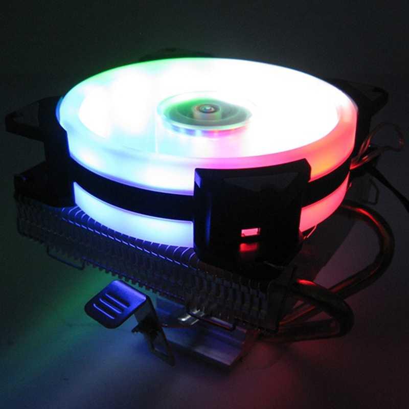 3Pin 2 heatpipe PC Ventola Di Raffreddamento RGB LED CPU cooler 90 millimetri ventola Del Radiatore del dissipatore di calore per LGA/775/115X/1366/AM4/AM3/AM2 +/AM2/2011