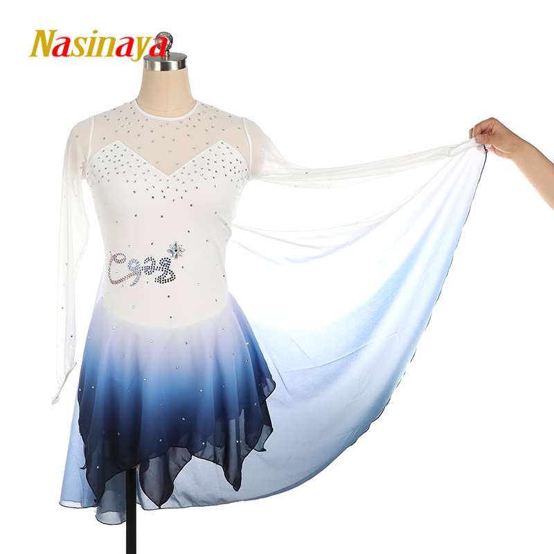 Costume Figure Skating Dress long sleeve Ice Skating Skirt for Girl Women Kids Customized polyamide Chinese Style Ink Color