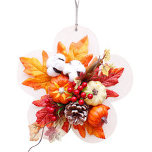 Pumkin Maple Leaf Christmas Garland Wreath Home Window Mall Hotel Decoration Pendant Xmas Hanging Ornaments