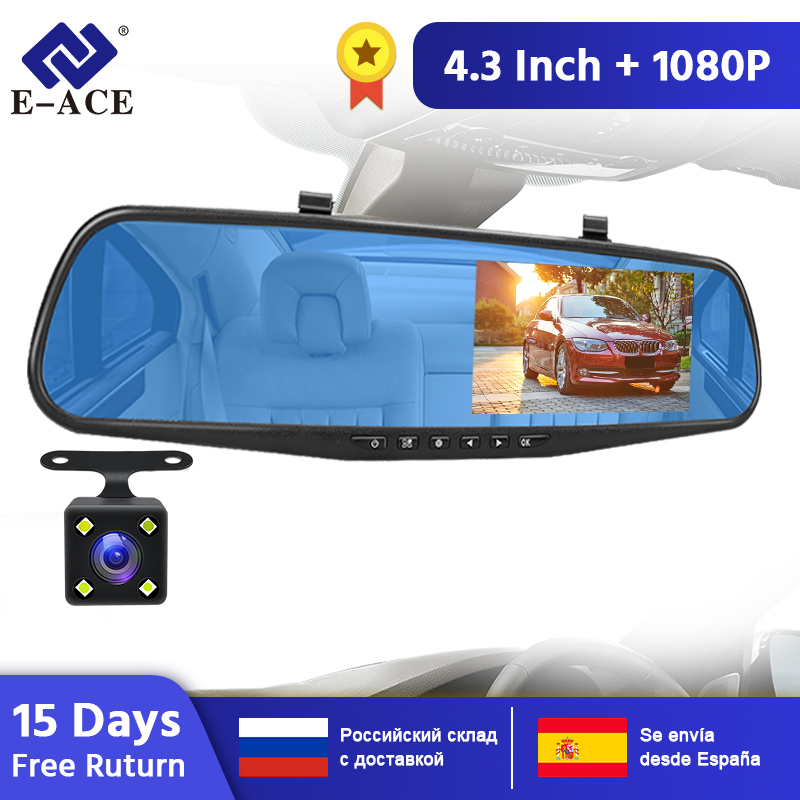 E-ACE Car Dvr Mirror Camera 4.3 Inch FHD 1080P Video Recorder Dual Lens With Rear View Camera Auto Registratory Camcorder