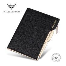 Холщовый мужской кошелек williampolo кредитница со съемным футляром
