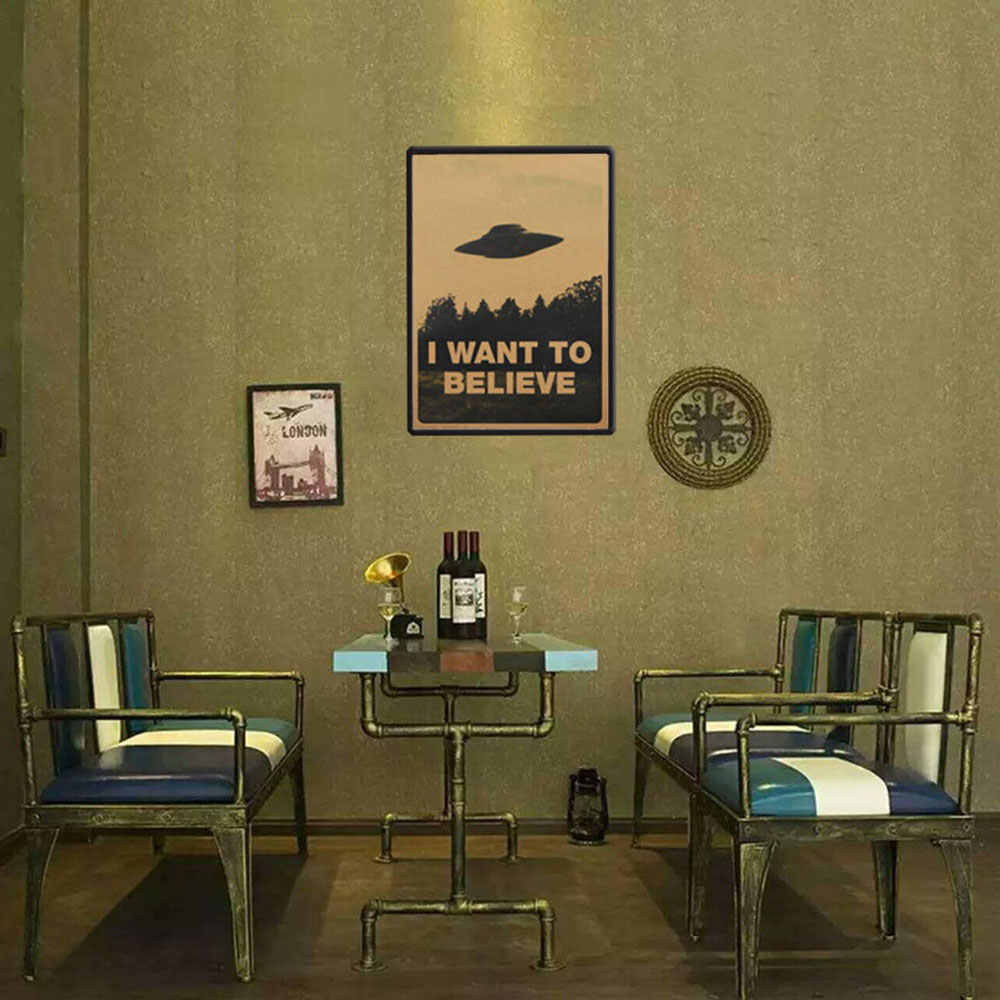 "Poster Paster Room Art Files Pattern ""I Want To Believe"" Ornament Office Decor Wall Stickers Home & Garden Retro"