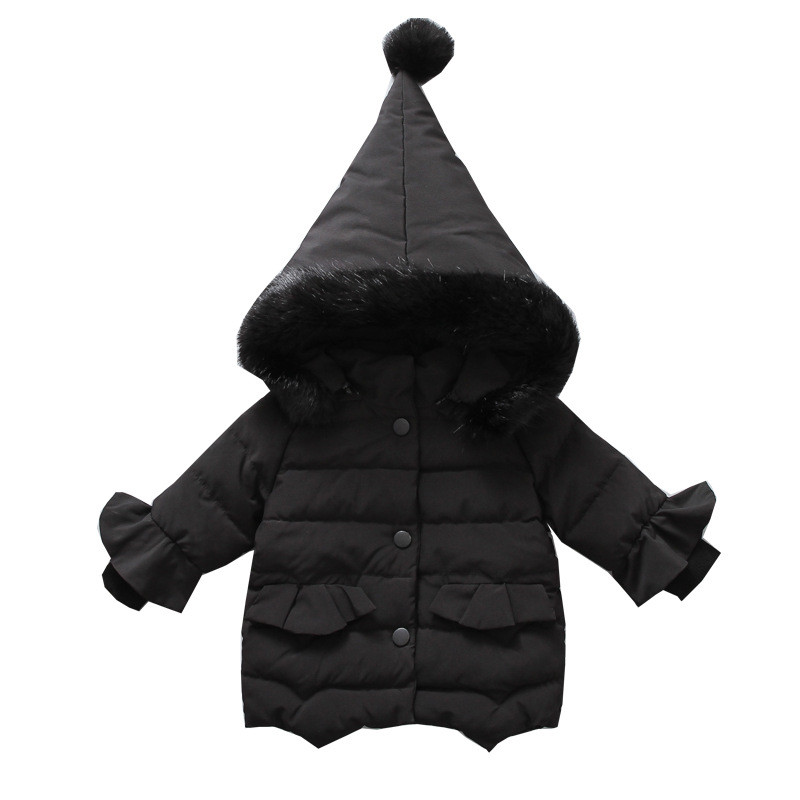 Купить детское хлопковое пальто с капюшоном куртка меховым воротником