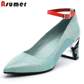 ASUMER 2020 new arrive single shoes women pumps spring summer genuine leather shoes pointed toe buckle high heels ladies