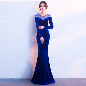 Beauty-Emily Beads Sequins O Neck Evening Dresses Long Mermaid Formal Party Dress Full Sleeve Luxury Vestido de noche Soiree