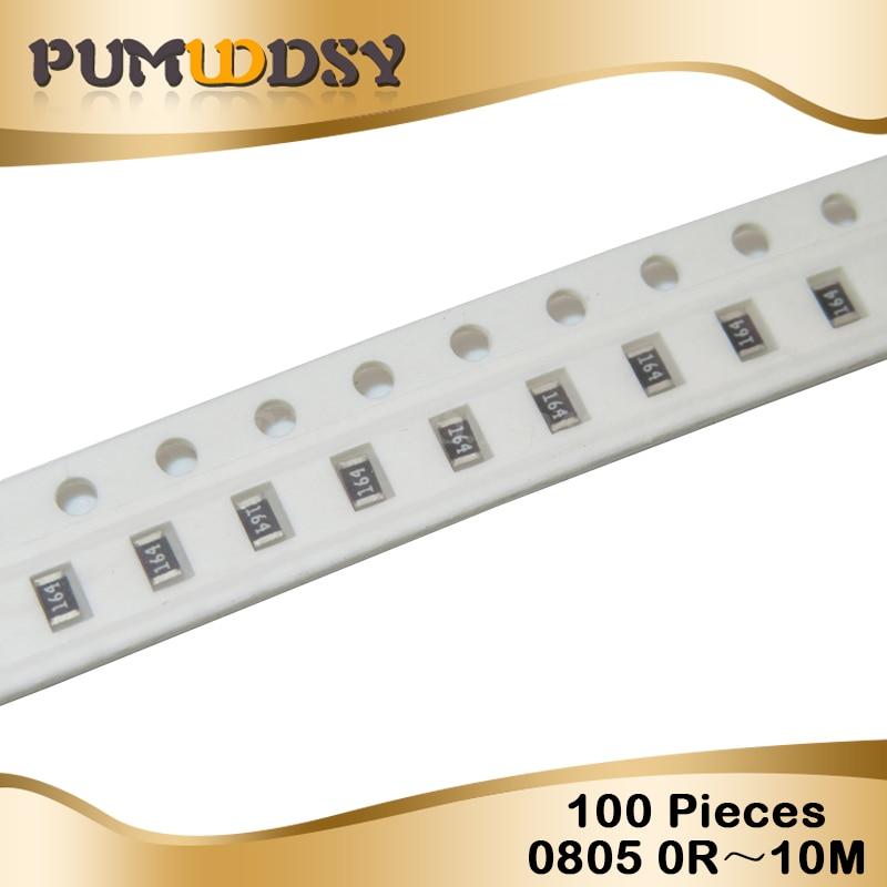 100Pcs 0805 SMD 1/4W Chip Resistor 0R ~ 10M 0 10R 100R 220R 330R 470R 1K 4.7K 10K 47K 100K 0 10 100 330 470 Ohm