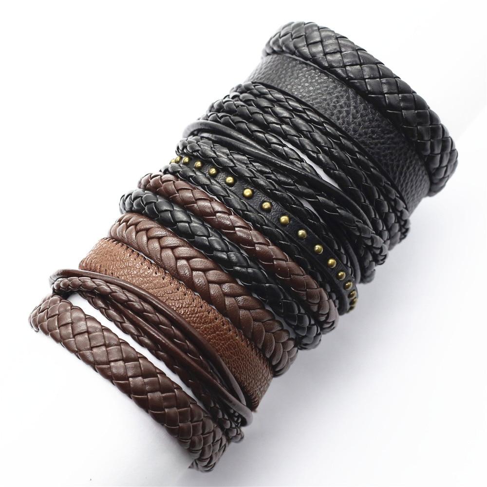 10 Pcs/set Handmade Weave Charm Wrap Leather Mens Bracelets for Women Bangles Femme Homme Male Jewellery Pulseras Mujer 2019