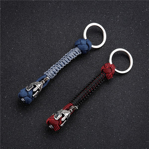 MKENDN Vintage Spartan Warrior Lanyard Metal Keychain Handmade Woven Survival Paracord Rope Keyring For Men Jewelry Accessories(China)