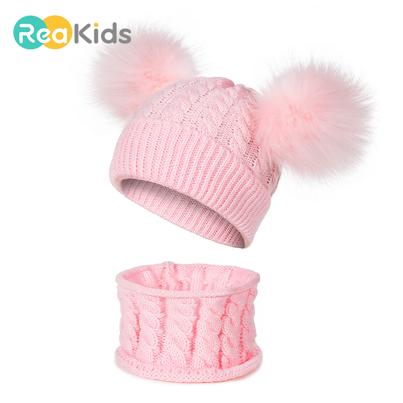Newborn Baby Pom Winter Hat Cap Scarf Fur Baby Hat Cap Cotton Pompom Knitted Warm Hat Kids Furry Balls Beanie Set Of Cap Suits
