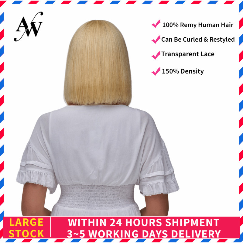 AW 12'' Blond Short Bob Lace Front Remy Humam Hair Wig HD Transparent Pre Plucked Hairline Half Lace Wig For Women 150% Density