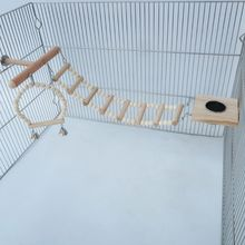Bird Cage Stand Play Gym Wood Parrot Swing Climbing Ladder Feeder Cup Chew Toys 50JD
