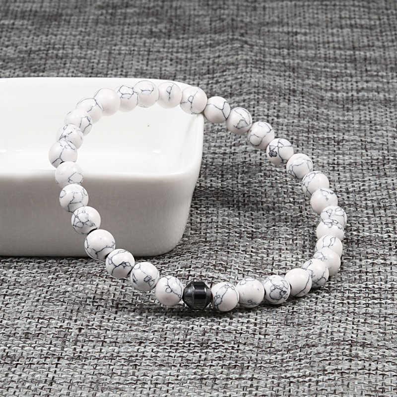 ธรรมชาติหินสร้อยข้อมือพลังงาน Hematite กระบอกสีดำ Lava Diffuser 6/8 มม.สร้อยข้อมือลูกปัดผู้หญิงโยคะ strand เครื่องประดับ