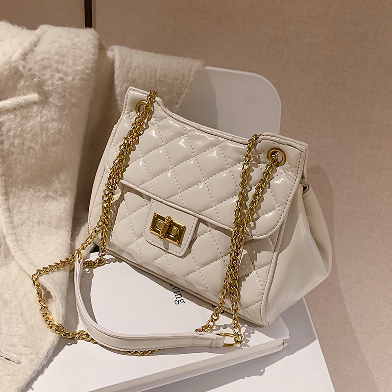 с доставкой Lattice PU Leather Crossbody Bags 2021 Chain Shoulder Handbags Lady Winter Luxury Hand Bag Women's Travel Hand Bag
