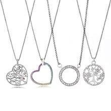 Autêntico prata chapeado marca colares romântico claro forma redonda cz marca pingente colares para festa feminino jóias metal 45cm
