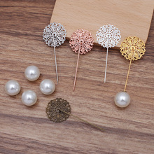 5pcs Brooch Pin Base Copper Hollow Out Flower Pin Stick Setting with Imitation Pearl Brooch Women Jewelry Making Accessories DIY chic hollow out flower rhinestoned brooch for women