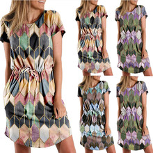Summer New Style Rhombus Print Short Sleeved Dress Women's Casual Loose Skirt Large Size Women's Clothing