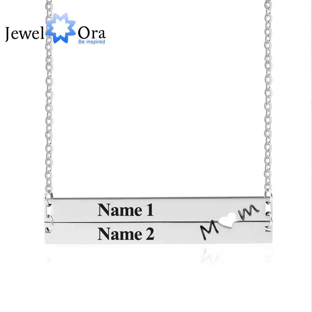 Spersonalizowane tabliczka znamionowa ze stali nierdzewnej naszyjnik tabliczka kobiety nazwa niestandardowa naszyjniki i wisiorki prezent na rocznicę (JewelOra NE101897)