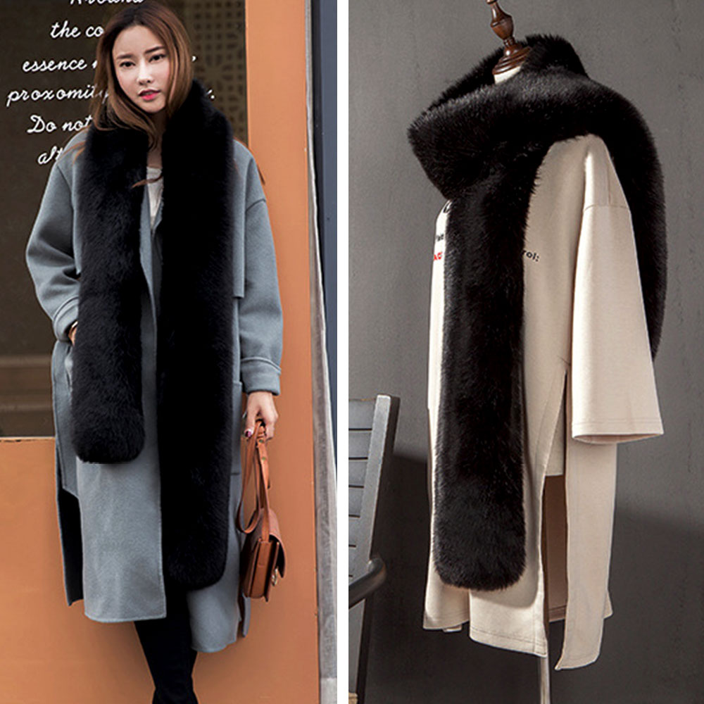 Faux Fur Scarf Women Fashion Solid Color Winter Warm Scarf Collar Shawl Wraps Female Stole Noble Fur Scarves For Women