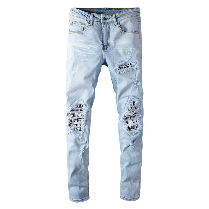 Sokotoo Men's Pale Light Blue Patchwork Jeans Fashion Slim Skinny Holes Ripped Stretch Denim Pants