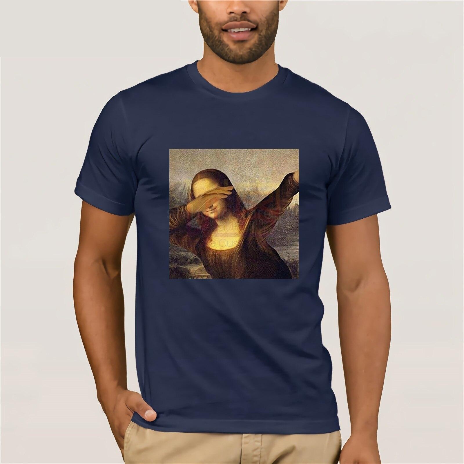 Mona Lisa Enxugando Dab Camisa Engraçada de T de Roupas Populares T-Shirt Crewneck Camiseta 100% Algodão O Pescoço T-shirt de Algodão Tops