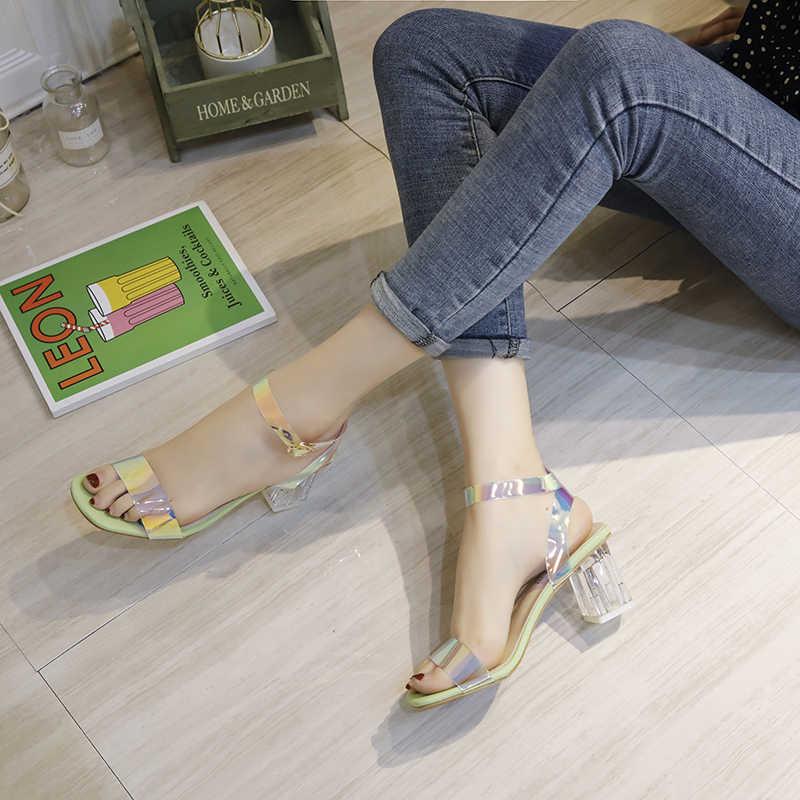 2020 Nuove Donne di Modo di Bling Bling Che Lucida PVC di Alta Sandali Della Piattaforma Cinturino Alla Caviglia Patchwork Sandali Tacco Alto di Marca Tacchi A589