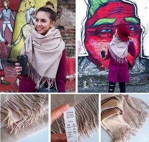 Image 5 - FURTALK 100% Lamb Wool Scarf Women Winter Cashmere Warm Scarves Shawls Tassel Luxury Winter hijab scarf Wraps foulard femme