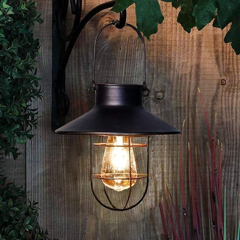 Retro lanterna solar ao ar livre pendurado luz solar do vintage lâmpada solar com branco quente para jardim quintal pátio festa de natal decoração