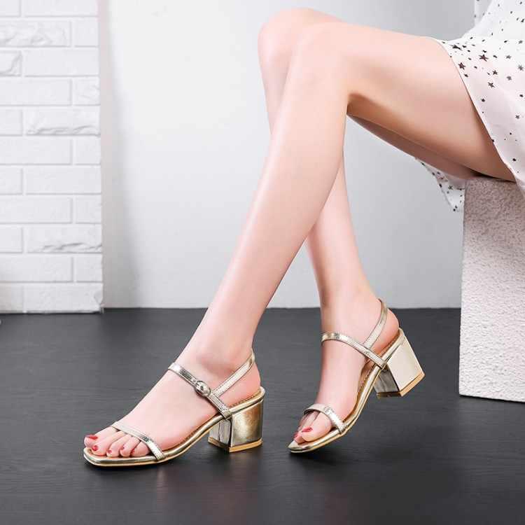 Plus Kích Thước Cao Gót Nữ Giày Nữ Người Phụ Nữ Mùa Hè Nữ Một Từ Giày Hở Mũi