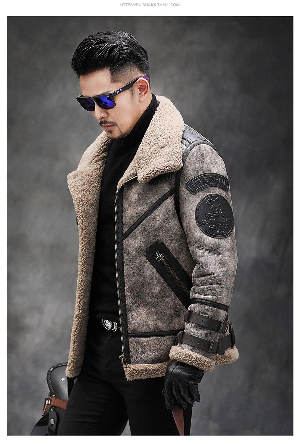 H41ffec3c413841c183c5bcfebc2bf332H 2019 Fashion 100% Quality Real Sheepskin Fur Men Coat Genuine Full Pelt Sheep Shearling Male Winter Jacket Brown Men Fur Outwear