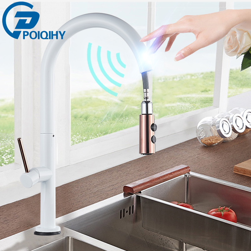White/Black Rose Gold Sensor Kitchen Faucet  360 Rotation Pull Out Kitchen Faucets Crane Cold Hot Water Mixer Tap Battery Power