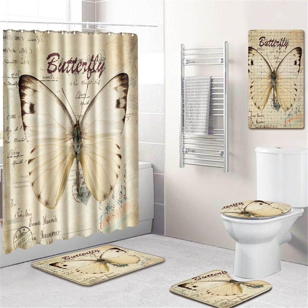 3D Животный Единорог принт ванная комната занавеска для душа водонепроницаемый полиэстер ПВХ нескользящий коврик для унитаза коврик для ва... - 5