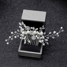 Elegant Wedding Hair Combs for Bride Crystal Rhinestones Pearls Women Hairpins Bridal Headpiece Hair Jewelry Accessories slbridal handmade crystal rhinestone pearls flower wedding hair clip barrettes bridal headpiece hair accessories women jewelry