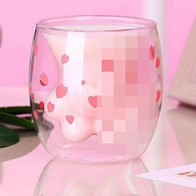 Cat Claw/Paw Cup Double Glass Coffee Mug Cartoon Cute Milk Juice Home Office Cafe Cherry Pink Transparent Double Glass  Paw Cup