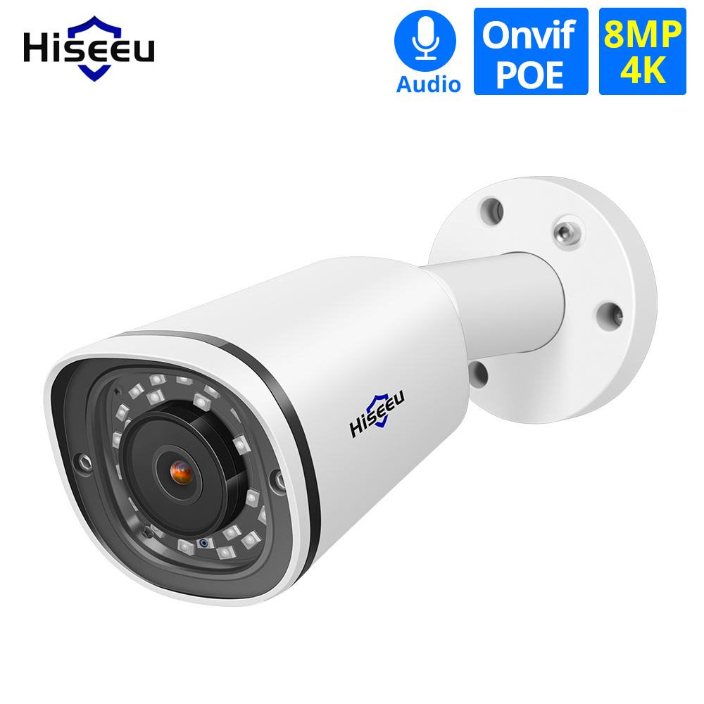 Hiseeu Bullet 4K POE IP Camera 8MP SD Card Slot Waterproof Audio Video Surveillance Security CCTV Camera ONVIF H.265 Sony Sensor