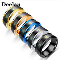 DEELAN Thermometer personality hot seller men ring stainless steel fashion multicolor party neutral ring holiday gift women ring