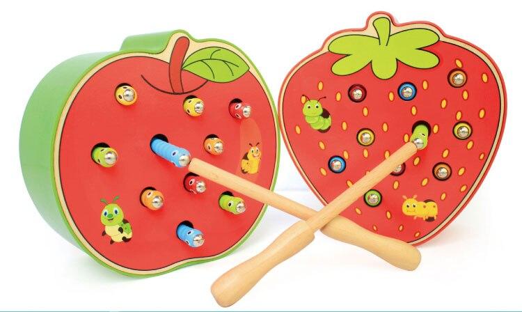 jogo de vermes cor cognitiva morango magnética maçã