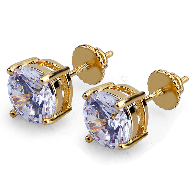 Fashion Hip Hop Style Men Circular Zircon Threaded Stud Earrings Classic Women Gold Earrings Jewelry for Female Party Gift