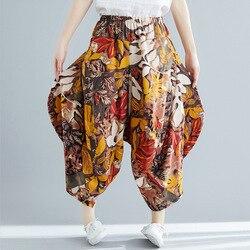 Printed Cotton Linen WOMEN'S Pants Harem Pants 2019 Summer New Style Ethnic-Style Elastic Waist Capri Pants Loose-Fit