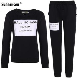 Image 3 - XUANSHOW Fashion Women Sportswear Autumn Winter Printed Letter Tracksuits Long sleeve Casual Suit Costumes Mujer 2 Piece Set 5XL