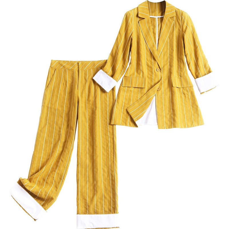 2020 Spring Women Work Pant Suits Striped Blazer Jacket & Zipper Trousers Suit 2 Piece Sets Single Breasted Casual Suit