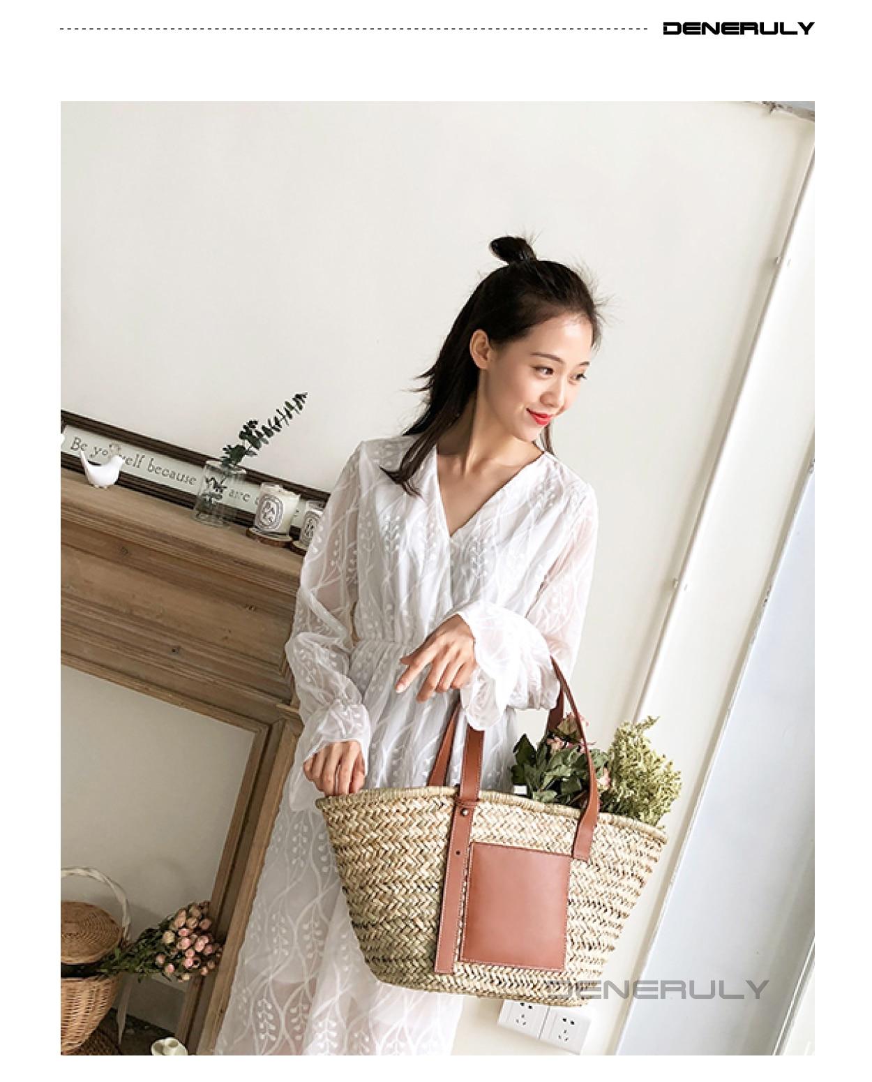 Image 5 - Beach Rattan Bag Women New Elegant Straw Bag Bolsos Mujer De Marca Famosa 2019 Bolso Paja Bolso Playa Designe Luxury Handbags-in Shoulder Bags from Luggage & Bags