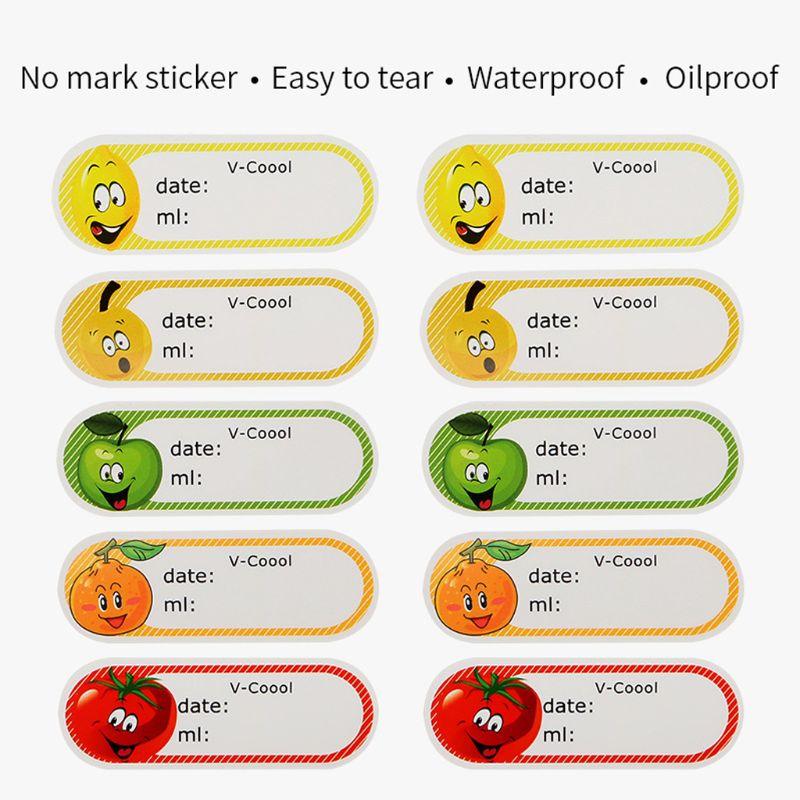 Cute Cartoon Pattern Waterproof Label Sticker Breast Milk Storage Date Capacity Write-on Tag Food Shelf Life Marker Household Ac