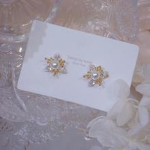 Earrings 2020 new wave high-end sense crystal earrings female Korean temperament net red pearl Fashion Stud