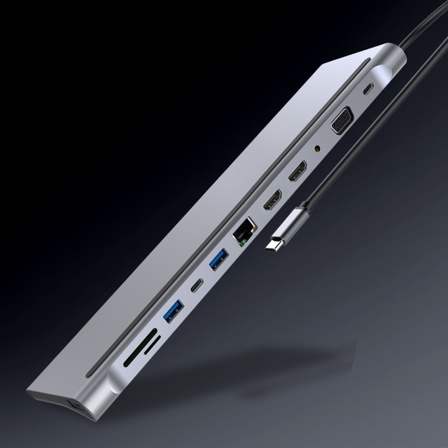 12in1 Type-c Docking Station Dual HDMI VGA Audio TF/SD Ethernet PD USB C HUB Laptop Macbook pro Docking Station
