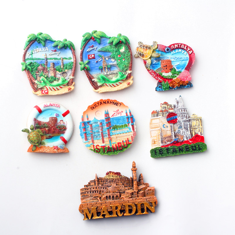3D Fridge Magnets for Turkey KEMER AND ALANYA AND <font><b>ISTANBUL</b></font> Travel Souvenir Refrigerator Magnetic Sticker Craft Home Decor image