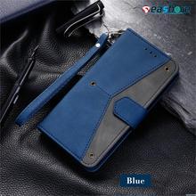 Caso de telefone de couro para samsung m31 s30ultra carteira slot para cartão saco s20 fe s10plus s7edge s9 anti gota escudo multicolorido costura