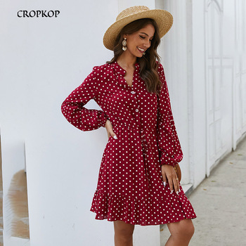 Casual Print Dress - Women Long Sleeve A-line Button Simple Elegant Female Wild Cozy White Beach Dress Vintage 1