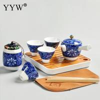 Blue Ceramics Tea Set Chinese Travel Kung Fu Tea Set Porcelain Teapot Kettle Drinkware Accessories Dining Table Decorations