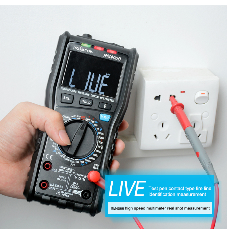 RM406B Digital Multimeter with 10000 Counts and Anti Burn Alarm for AC Voltage and Current Frequency Test 18